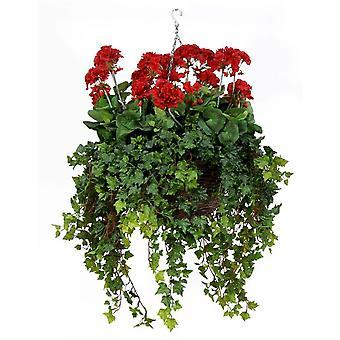 Artificial Silk Geranium Deluxe Hanging Basket