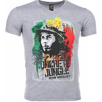 T-shirt-Bob Marley Concrete Jungle Print-Grey