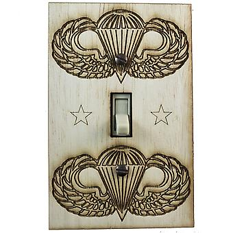 Us paratrooper switch plate - raw wood - 3