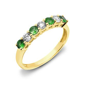 Jewelco London 18ct Yellow Gold 4 Claw G SI1 0.33ct Diamond and Green 0.4ct Emerald 7 Stone Eternity Ring 3mm