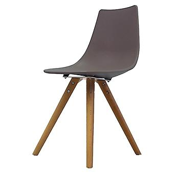 Fusion Living Iconic Slate Plastic Dining Chair With Light Wood Legs