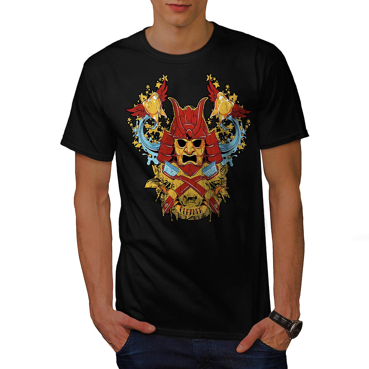 Samurai Cleaner Fantasy Warrior Men Black T-shirt | Wellcoda
