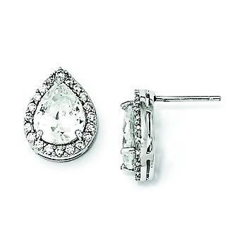 Sterling Silver CZ larme Post boucles