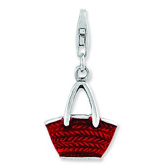 Sterling Silver Rhodium-plated 3-d Enameled Purse With Lobster Clasp Charm - 2.8 Grams
