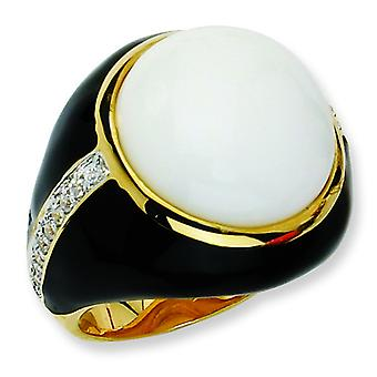 Gold-plated Sterling Silver Blk Enam Simulated Wht Agate and CZ Ring - Ring Size: 6 to 8