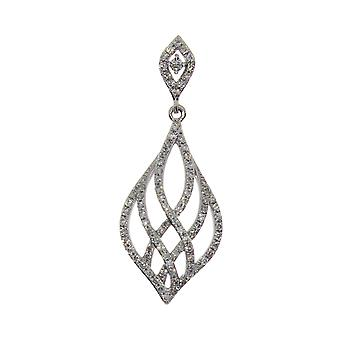14K White Gold Modern Diamond Fashion Pendant with 18