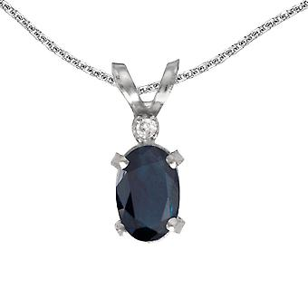 14k White Gold Oval Sapphire And Diamond Filagree Pendant with 18