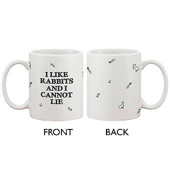 Divertido y lindo conejito cerámica taza de café - yo como conejos y no miento