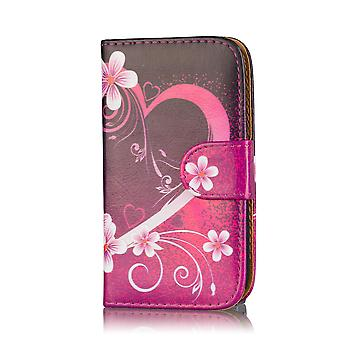 Design Buch Brieftasche Gehäusedeckel für Samsung Galaxy S5 Mini SM-G800 - Love Heart
