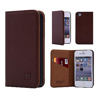 32nd Classic Real Leather Wallet for Apple iPhone 5 5S SE - Dark Brown