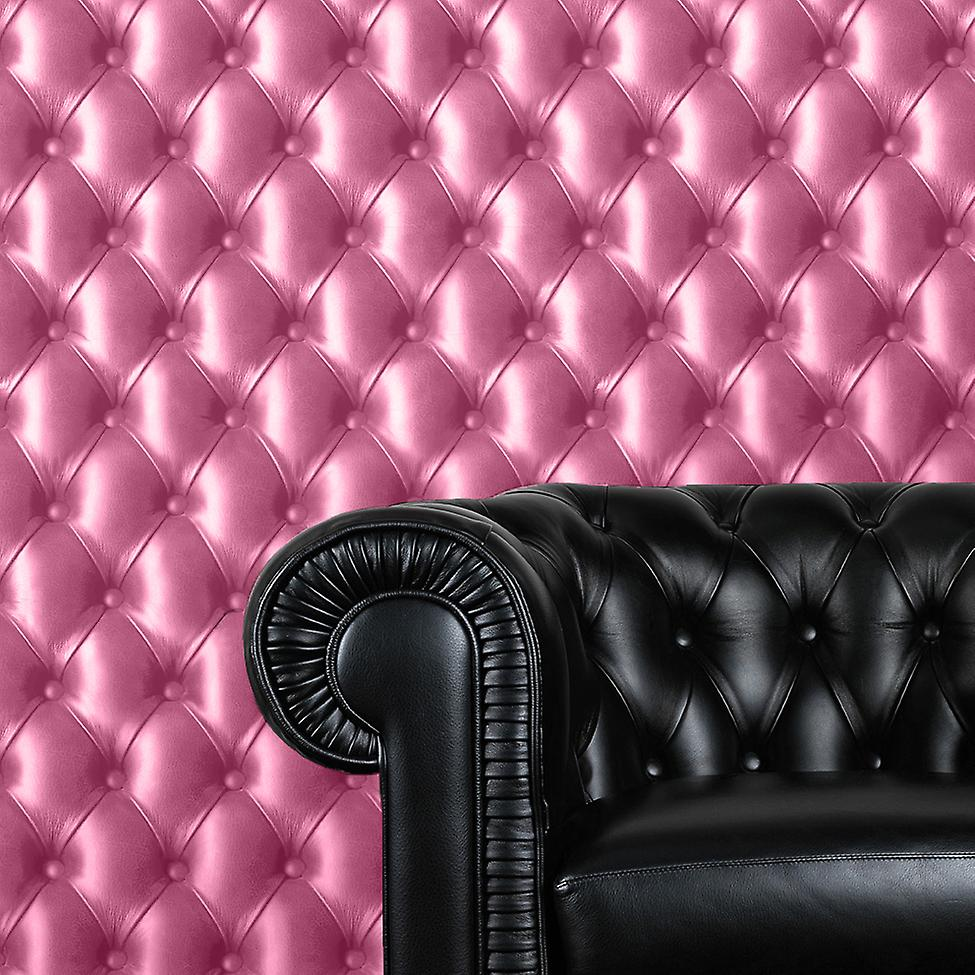 Cushioned Leather Effect Pink Padding Chesterfield Sofa Wallpaper 3D Image