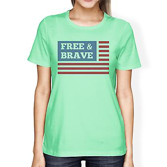 Gratis dappere Amerikaanse vlag Amerikaanse vlag Shirt Womens Mint Graphic Tee