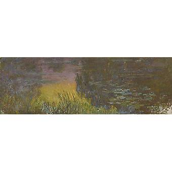 Claude Monet - The Water Lilies Setting Sun Poster Print Giclee