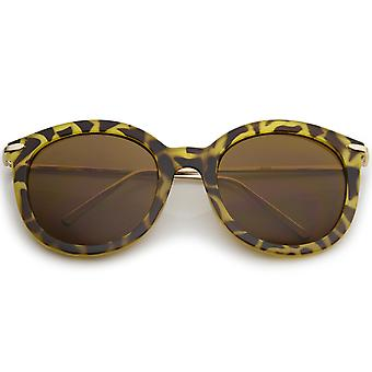 Women's Classic Oversize Ultra Slim Metal Temple Round Sunglasses 56mm
