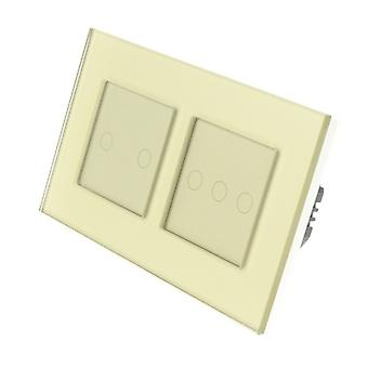 I LumoS Gold Glass Double Frame 5 Gang 1 Way Touch LED Light Switch Gold Insert