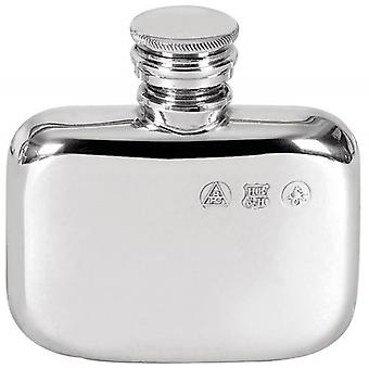 Orton West Small Pewter Screw Top Hip Flask - Silver