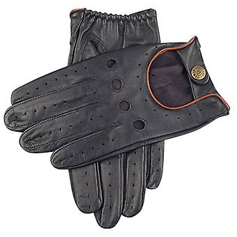 Dents Delta Hairsheep Leather Classic Driving Gloves - Navy/Tan