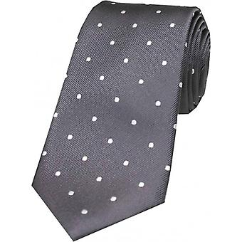 David Van Hagen Polka Dot Silk Tie - Grey