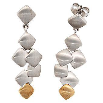 Earring earrings earrings plug, 925-sterling silver combined with 585 / - yellow gold rhodium-plated, satin