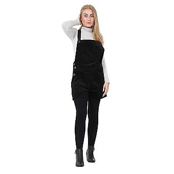 Black Corduroy Dungaree Shorts Relaxed Fit Bib Overall Shorts