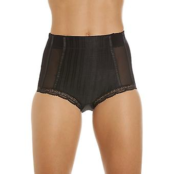 Camille Black High Waisted Mesh Support Panel Control Brief