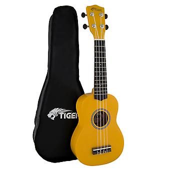Tiger Soprano Ukulele for Beginners in Yellow with Bag