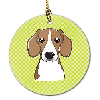 Carolines tesori BB1301CO1 Checkerboard calce verde Beagle ceramica ornamento