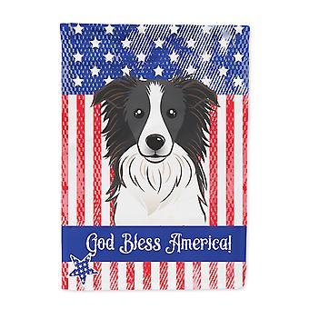 God Bless American Flag with Border Collie Flag Garden Size