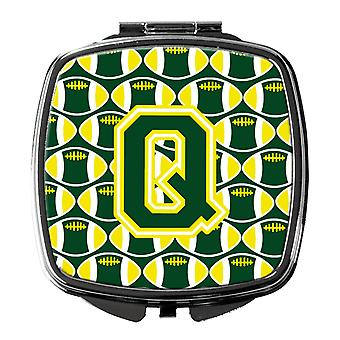 Letter Q Football Green and Yellow Compact Mirror