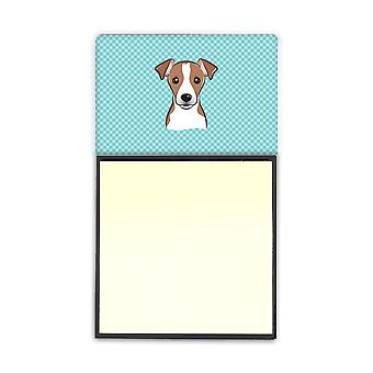 Checkerboard Blue Jack Russell Terrier Refiillable Sticky Note Holder or Postit