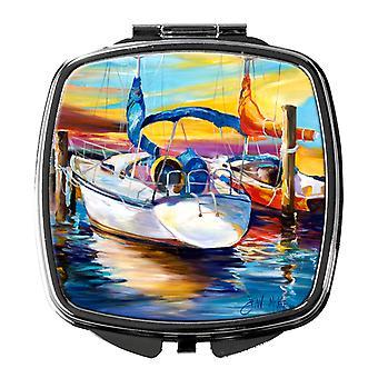Carolines Treasures  JMK1243SCM Symmetry again Sailboats Compact Mirror
