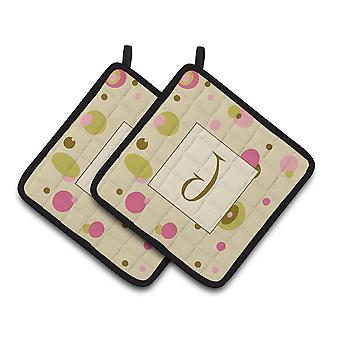 Letter J Initial Monogram - Tan Dots Pair of Pot Holders