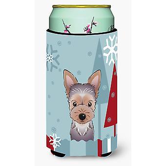 Winter Holiday Yorkie Puppy Tall Boy Beverage Insulator Hugger