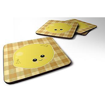 Carolines Treasures  BB6990FC Set of 4 Lemon Face Foam Coasters Set of 4