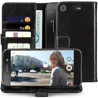 Sony Xperia XZ1 Compact Real Leather ID Wallet - Black