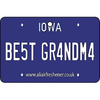 Iowa - Best Grandma License Plate Car Air Freshener