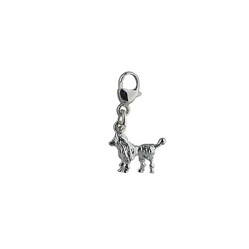 Silver 20x12mm Lion cut Poodle charm on a lobster trigger