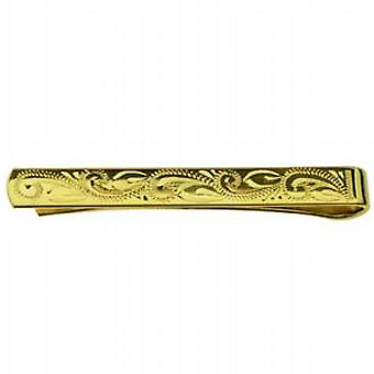 Hard Gold Plated 6x55mm middle hand engraved Tie Slide