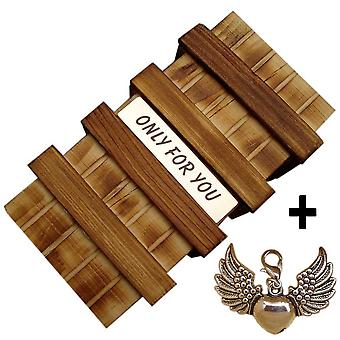Gift box with secret compartment and jewelry charms - engraving wooden box gift