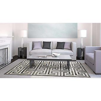 Madisons Gray and White Cowhide Rug - Patchwork Maze Pattern