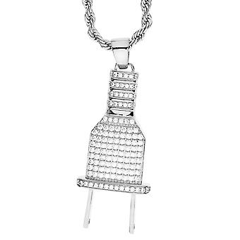 Iced out bling micro pave necklace - silver plug