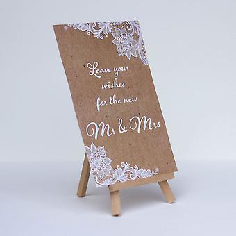Leave Your Wishes Rustic Wedding Sign Brown with White Lace design & Easel