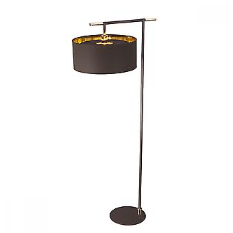 Contemporary Mocha Brown Floor Lamp With Polished Brass