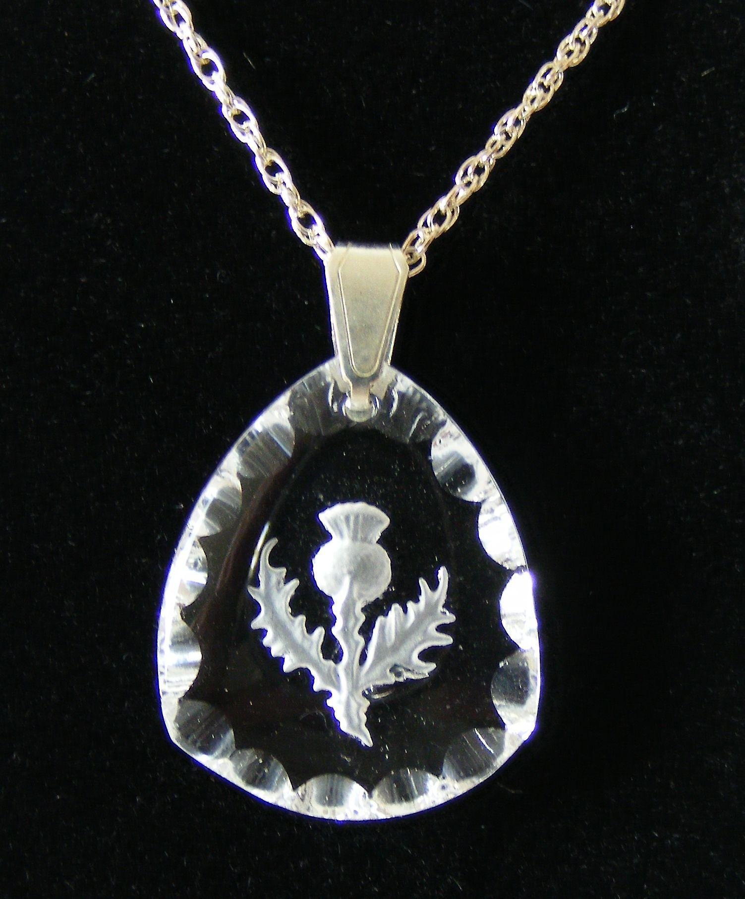 Frosted Triangular Thistle Crystal Pendant