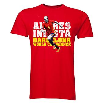 Andres Iniesta Barcelona Player T-Shirt (Red) - Kids