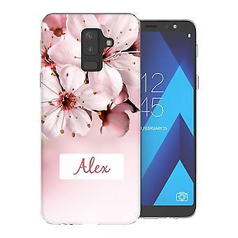 Samsung A6 Plus (2018) hellrosa Blumen personalisierte TPU Gel Fall