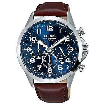 Lorus Mens brun läderrem blå urtavla RT379FX9 Watch