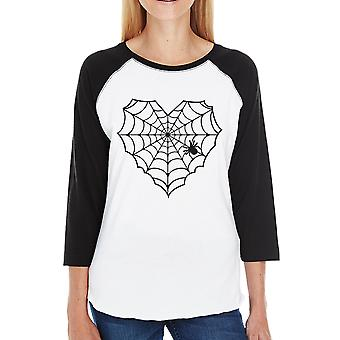 Heart Spider Web Tshirt Womens Graphic Baseball Tee Cotton Crewneck