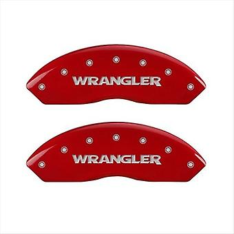 MGP Caliper Covers 42007SWRGRD Wrangler Red Caliper Covers - Engraved Front & Rear44; Set of 4