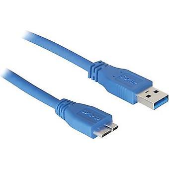 DeLOCK Cable USB 3.0 [1 x conector USB 3.0 A - 1 x USB 3.0 conector Micro B] 5 m azul conectores enchapados oro, aprobación UL